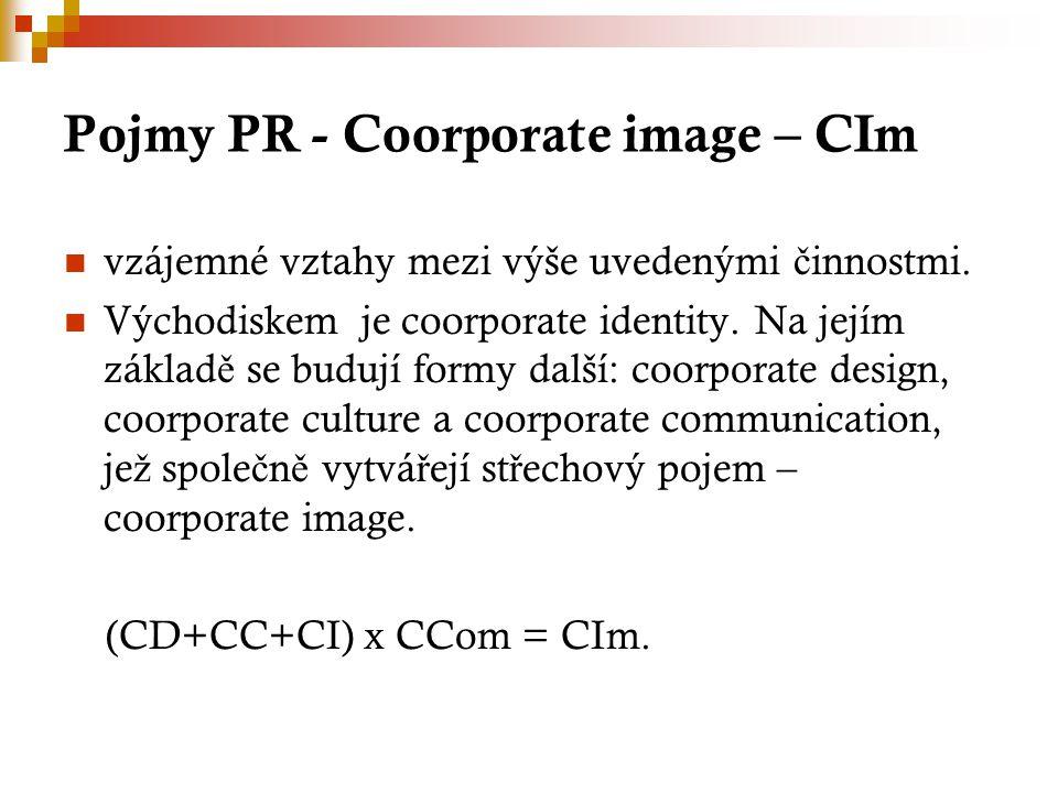 Pojmy PR - Coorporate image – CIm vzájemné vztahy mezi výše uvedenými č innostmi.