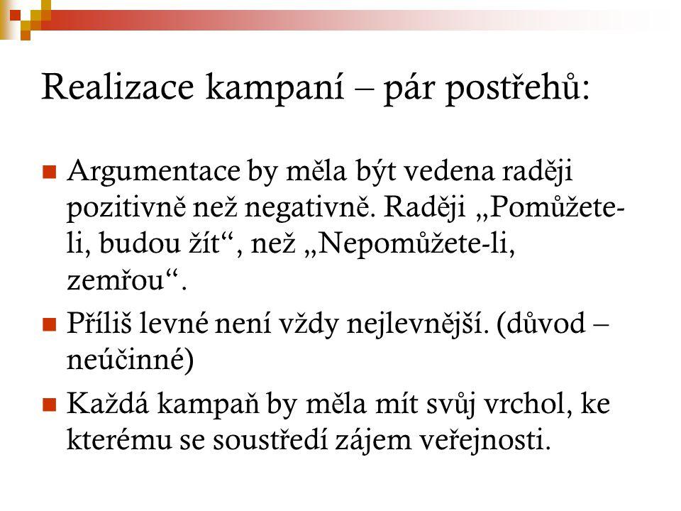 Realizace kampaní – pár post ř eh ů : Argumentace by m ě la být vedena rad ě ji pozitivn ě ne ž negativn ě.