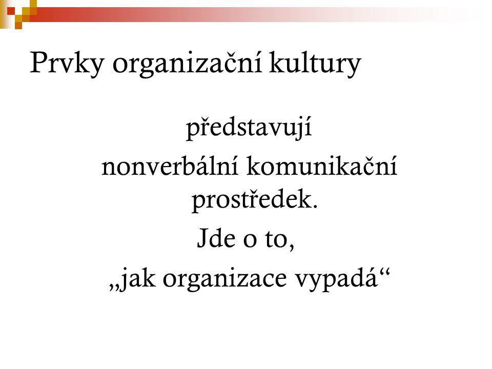 Prvky organiza č ní kultury p ř edstavují nonverbální komunika č ní prost ř edek.