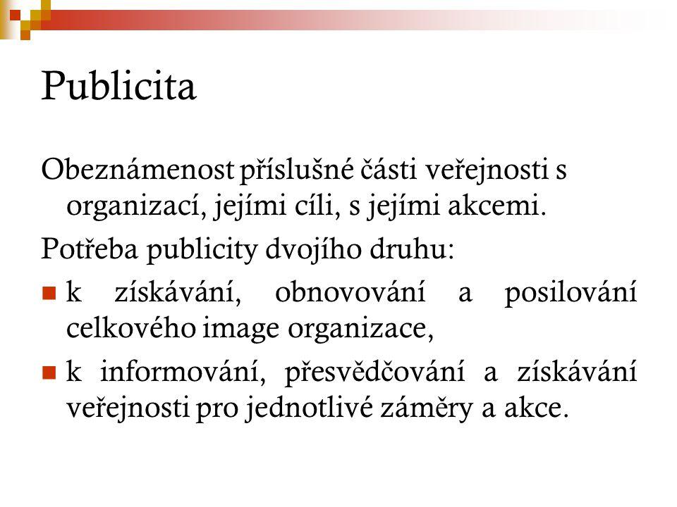 Publicita Obeznámenost p ř íslušné č ásti ve ř ejnosti s organizací, jejími cíli, s jejími akcemi.