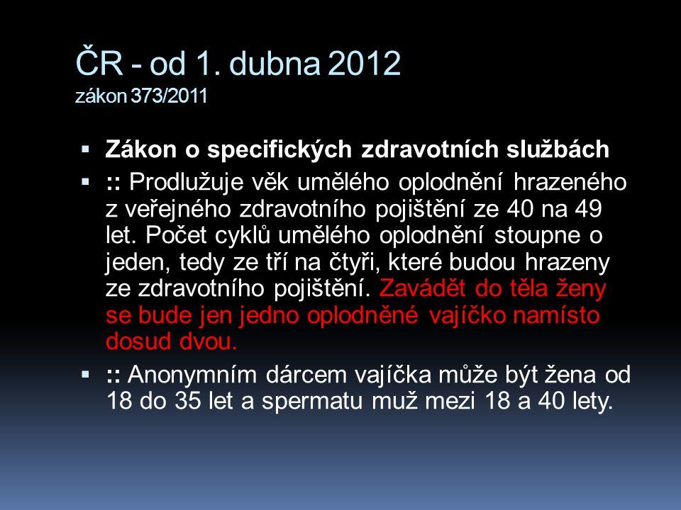ČR - od 1. dubna 2012 zákon 373/2011  Zákon o specifických zdravotních službách  :: Prodlužuje věk umělého oplodnění hrazeného z veřejného zdravotní