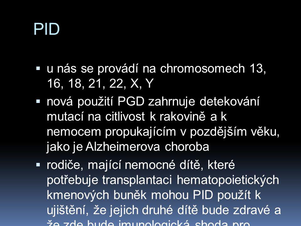 PID  u nás se provádí na chromosomech 13, 16, 18, 21, 22, X, Y  nová použití PGD zahrnuje detekování mutací na citlivost k rakovině a k nemocem propukajícím v pozdějším věku, jako je Alzheimerova choroba  rodiče, mající nemocné dítě, které potřebuje transplantaci hematopoietických kmenových buněk mohou PID použít k ujištění, že jejich druhé dítě bude zdravé a že zde bude imunologická shoda pro transplantaci kmenových buněk na první, nemocné dítě.