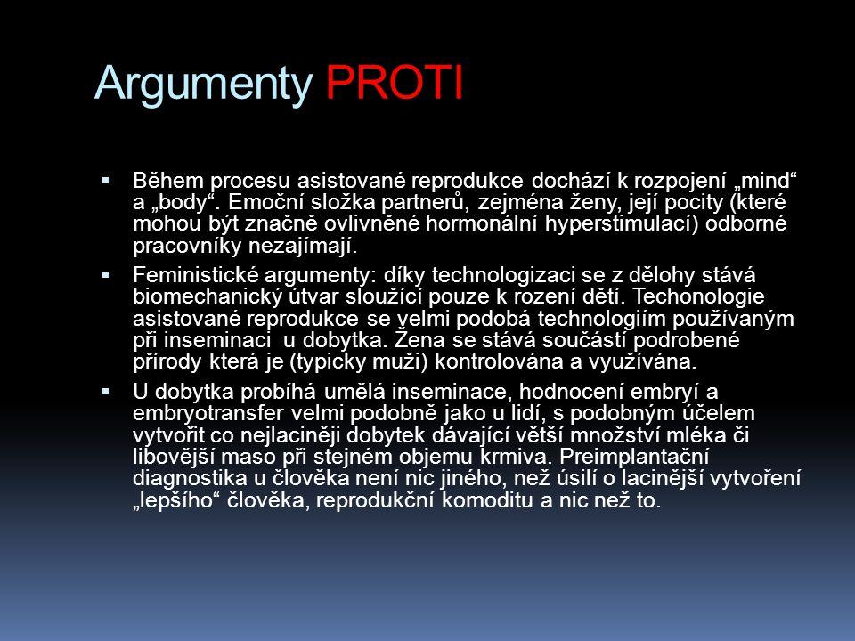 """Argumenty PROTI  Během procesu asistované reprodukce dochází k rozpojení """"mind"""" a """"body"""". Emoční složka partnerů, zejména ženy, její pocity (které mo"""