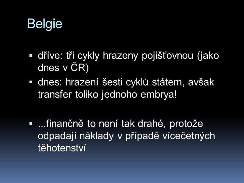 Belgie  dříve: tři cykly hrazeny pojišťovnou (jako dnes v ČR)  dnes: hrazení šesti cyklů státem, avšak transfer toliko jednoho embrya! ...finančně
