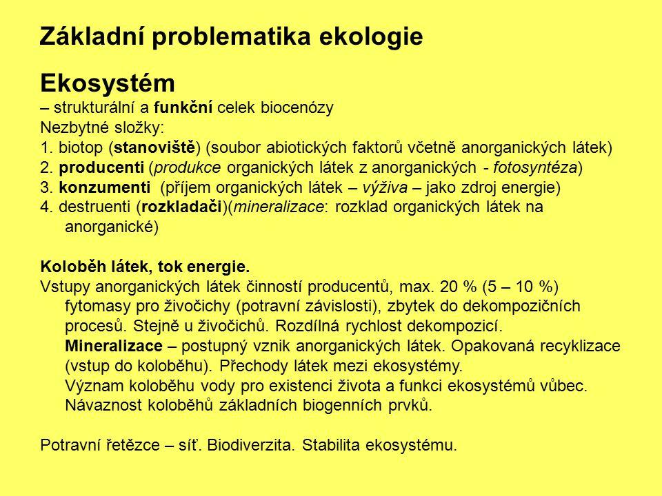 Základní problematika ekologie Ekosystém – strukturální a funkční celek biocenózy Nezbytné složky: 1. biotop (stanoviště) (soubor abiotických faktorů