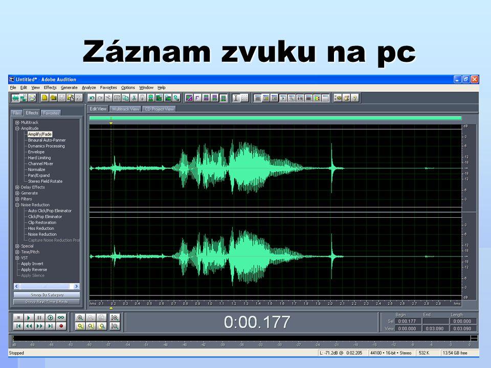 Zvukové formáty Digitální zvuk je uložen v souborech, které mají různé vlastnosti.