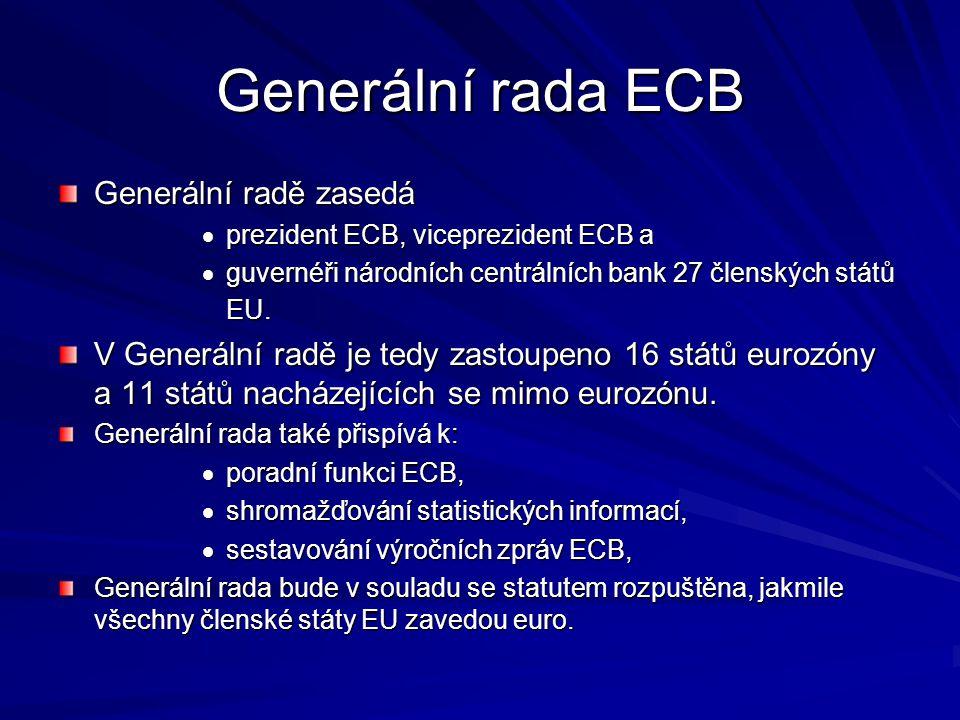 Generální rada ECB Generální radě zasedá  prezident ECB, viceprezident ECB a  guvernéři národních centrálních bank 27 členských států EU.