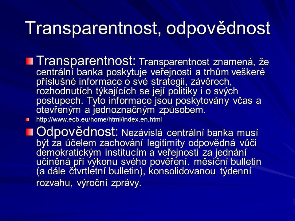 Transparentnost, odpovědnost Transparentnost: Transparentnost znamená, že centrální banka poskytuje veřejnosti a trhům veškeré příslušné informace o své strategii, závěrech, rozhodnutích týkajících se její politiky i o svých postupech.