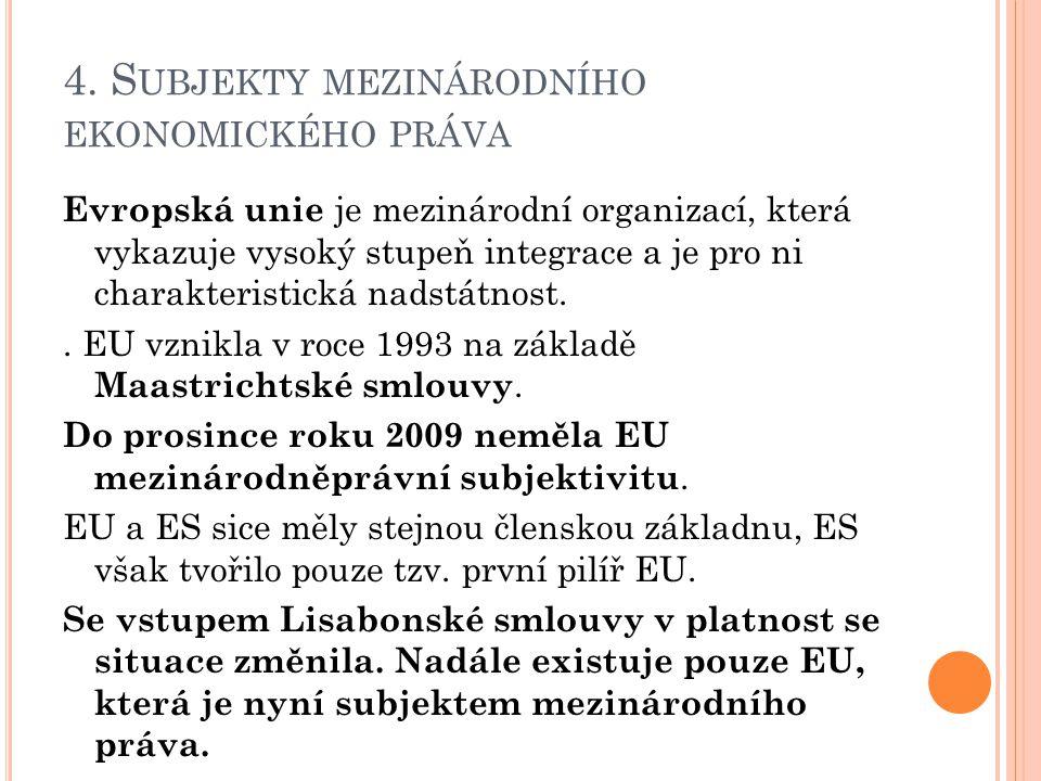 4. S UBJEKTY MEZINÁRODNÍHO EKONOMICKÉHO PRÁVA Evropská unie je mezinárodní organizací, která vykazuje vysoký stupeň integrace a je pro ni charakterist