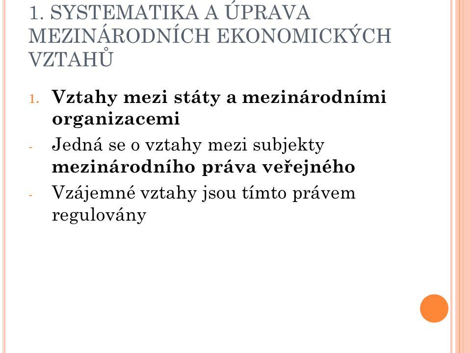 1. SYSTEMATIKA A ÚPRAVA MEZINÁRODNÍCH EKONOMICKÝCH VZTAHŮ 1.