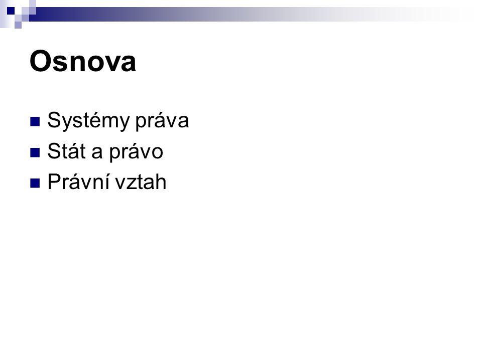 Osnova Systémy práva Stát a právo Právní vztah