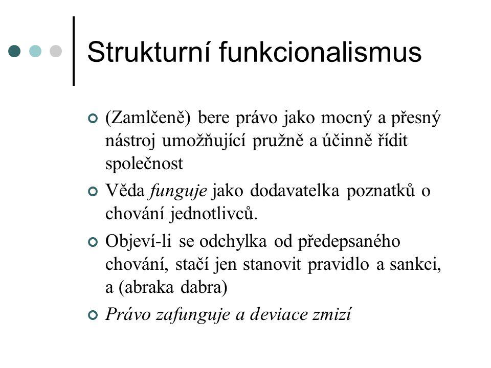 Strukturní funkcionalismus (Zamlčeně) bere právo jako mocný a přesný nástroj umožňující pružně a účinně řídit společnost Věda funguje jako dodavatelka poznatků o chování jednotlivců.