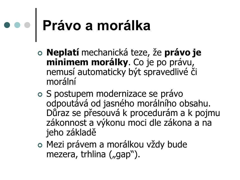 Právo a morálka Neplatí mechanická teze, že právo je minimem morálky.