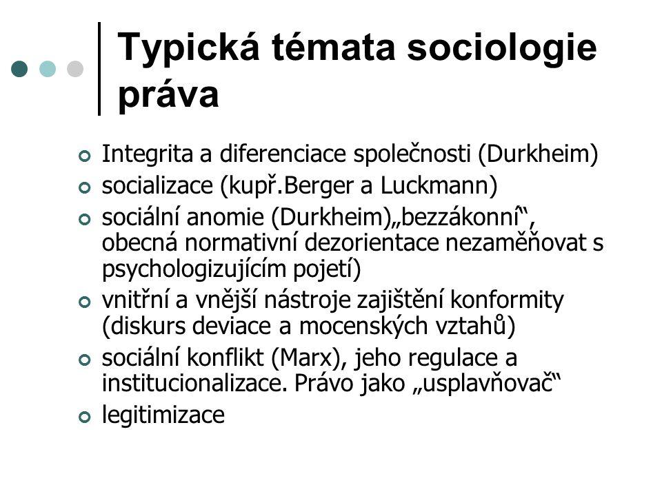 """Typická témata sociologie práva Integrita a diferenciace společnosti (Durkheim) socializace (kupř.Berger a Luckmann) sociální anomie (Durkheim)""""bezzákonní , obecná normativní dezorientace nezaměňovat s psychologizujícím pojetí) vnitřní a vnější nástroje zajištění konformity (diskurs deviace a mocenských vztahů) sociální konflikt (Marx), jeho regulace a institucionalizace."""