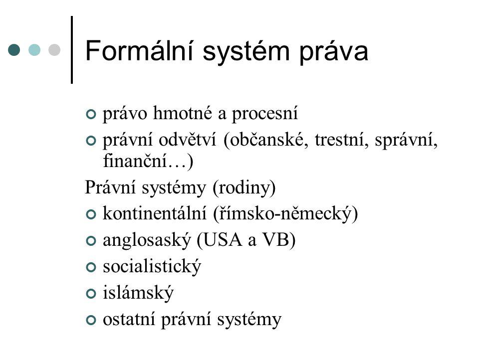 Formální systém práva právo hmotné a procesní právní odvětví (občanské, trestní, správní, finanční…) Právní systémy (rodiny) kontinentální (římsko-něm