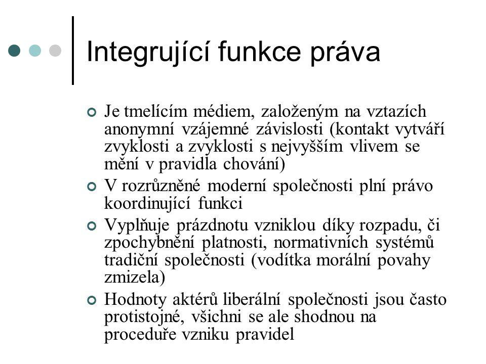 Integrující funkce práva Je tmelícím médiem, založeným na vztazích anonymní vzájemné závislosti (kontakt vytváří zvyklosti a zvyklosti s nejvyšším vli