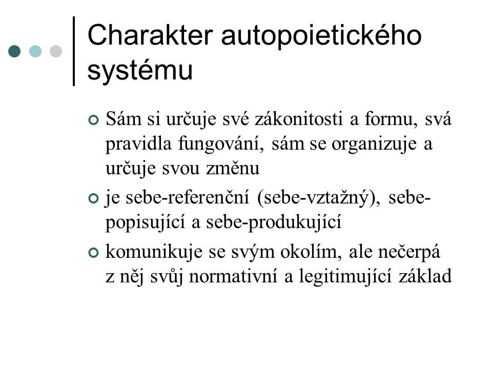 Charakter autopoietického systému Sám si určuje své zákonitosti a formu, svá pravidla fungování, sám se organizuje a určuje svou změnu je sebe-referen