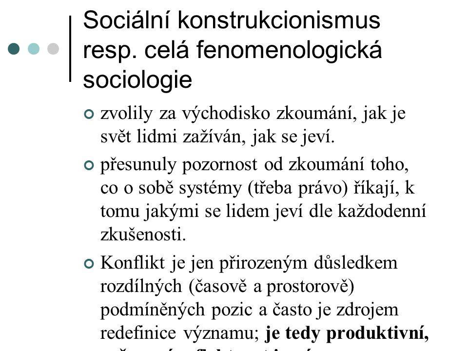 Sociální konstrukcionismus resp. celá fenomenologická sociologie zvolily za východisko zkoumání, jak je svět lidmi zažíván, jak se jeví. přesunuly poz