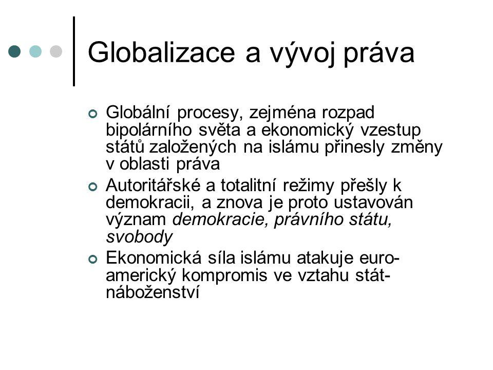 Globalizace a vývoj práva Globální procesy, zejména rozpad bipolárního světa a ekonomický vzestup států založených na islámu přinesly změny v oblasti