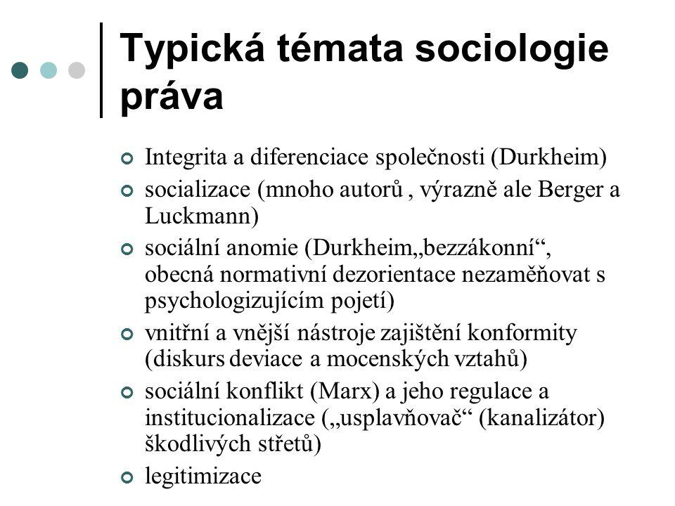 """Typická témata sociologie práva Integrita a diferenciace společnosti (Durkheim) socializace (mnoho autorů, výrazně ale Berger a Luckmann) sociální anomie (Durkheim""""bezzákonní , obecná normativní dezorientace nezaměňovat s psychologizujícím pojetí) vnitřní a vnější nástroje zajištění konformity (diskurs deviace a mocenských vztahů) sociální konflikt (Marx) a jeho regulace a institucionalizace (""""usplavňovač (kanalizátor) škodlivých střetů) legitimizace"""