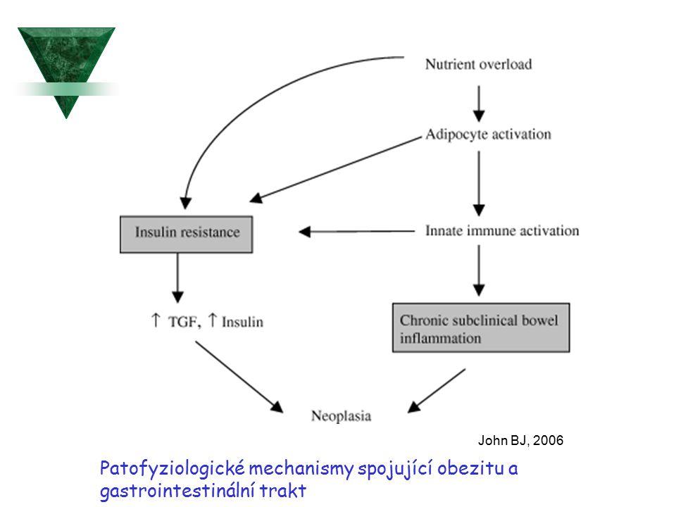 Patofyziologické mechanismy spojující obezitu a gastrointestinální trakt John BJ, 2006
