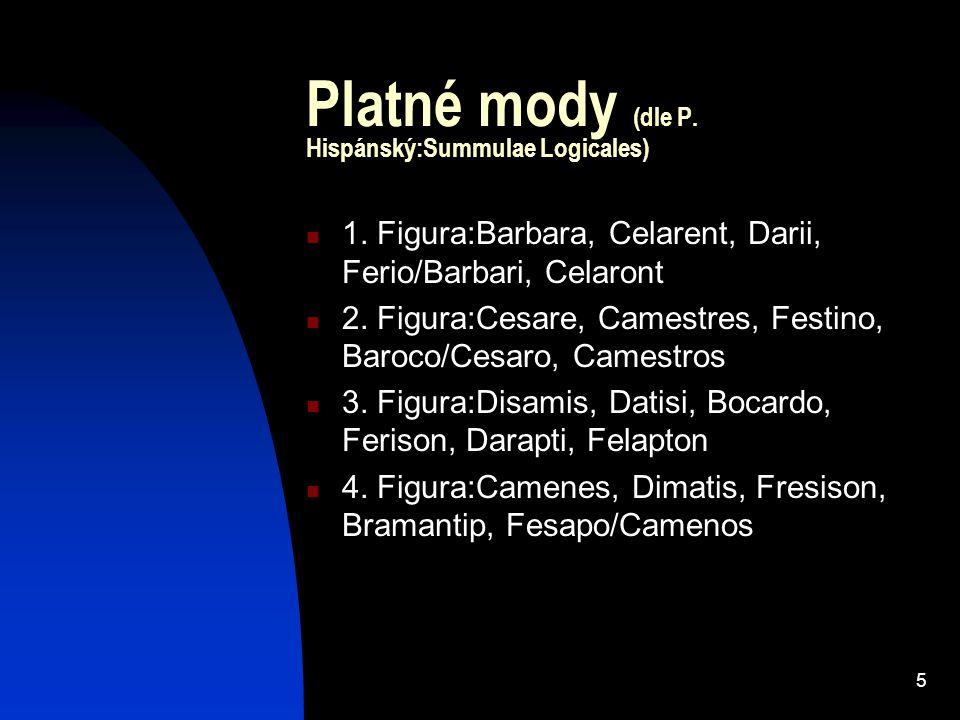 5 Platné mody (dle P. Hispánský:Summulae Logicales) 1. Figura:Barbara, Celarent, Darii, Ferio/Barbari, Celaront 2. Figura:Cesare, Camestres, Festino,