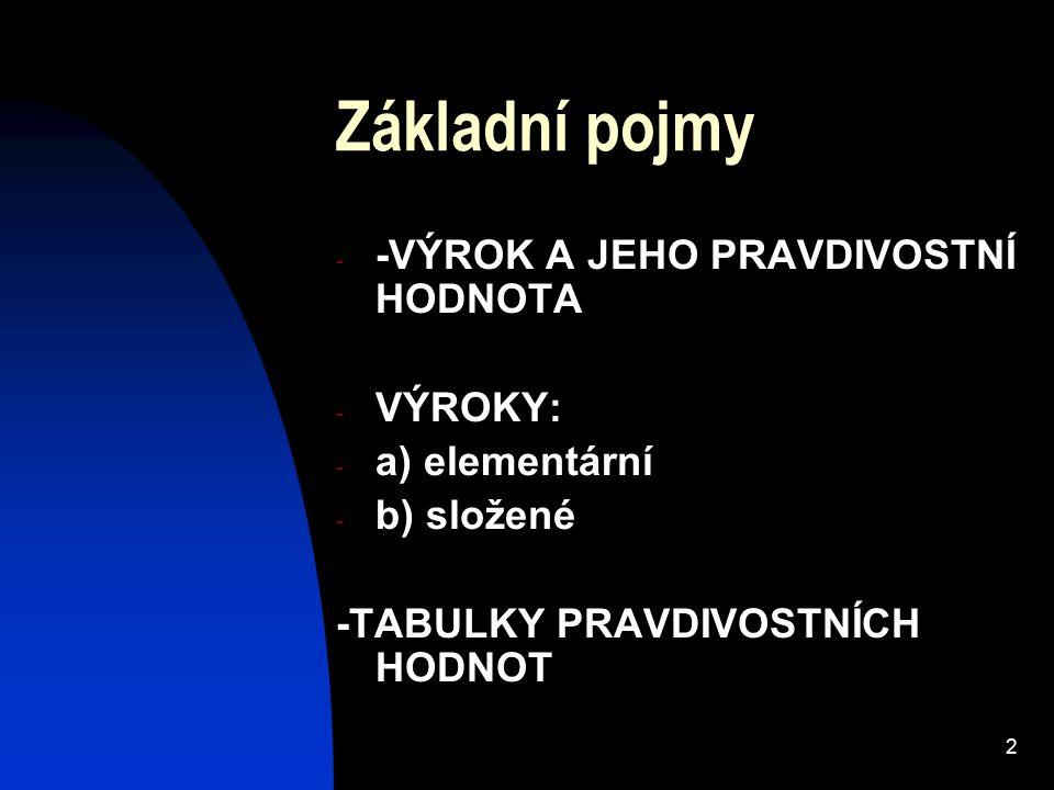 2 Základní pojmy - -VÝROK A JEHO PRAVDIVOSTNÍ HODNOTA - VÝROKY: - a) elementární - b) složené -TABULKY PRAVDIVOSTNÍCH HODNOT