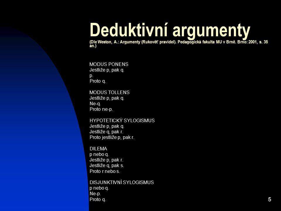 5 Deduktivní argumenty (Dle Weston, A.: Argumenty (Rukověť pravidel). Pedagogická fakulta MU v Brně. Brno: 2001, s. 35 an.) MODUS PONENS Jestliže p, p