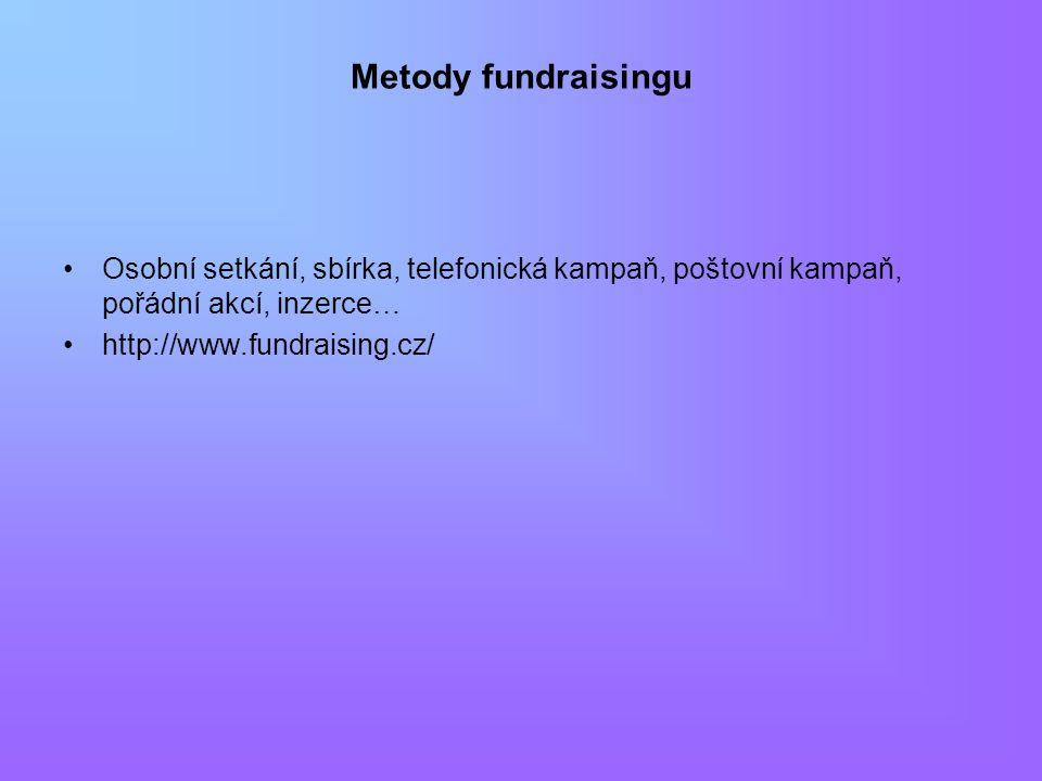 Metody fundraisingu Osobní setkání, sbírka, telefonická kampaň, poštovní kampaň, pořádní akcí, inzerce… http://www.fundraising.cz/