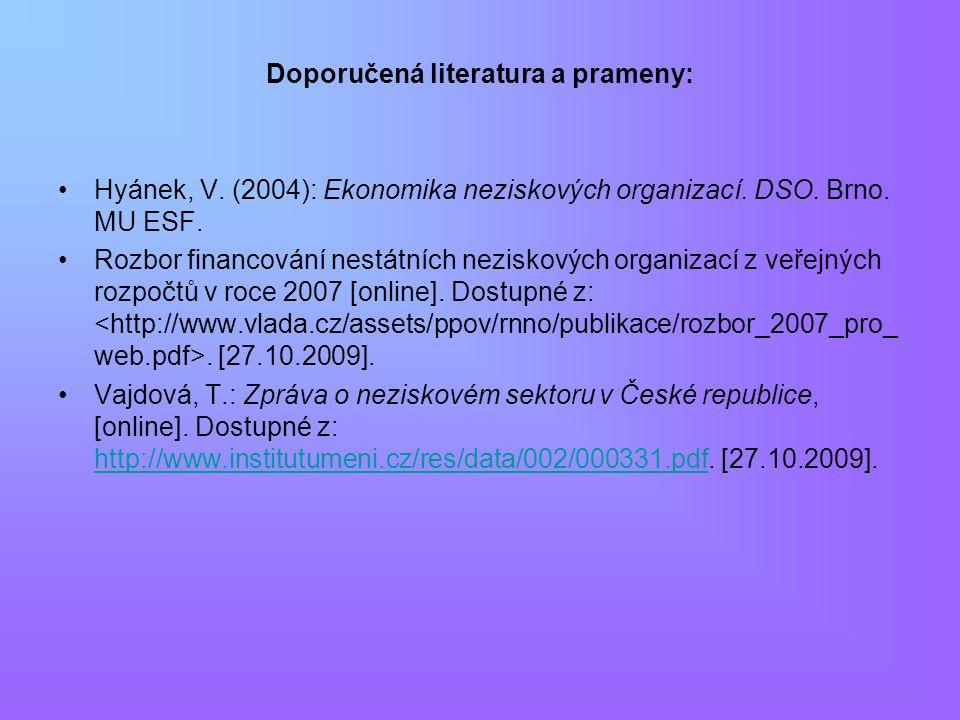 Doporučená literatura a prameny: Hyánek, V. (2004): Ekonomika neziskových organizací. DSO. Brno. MU ESF. Rozbor financování nestátních neziskových org