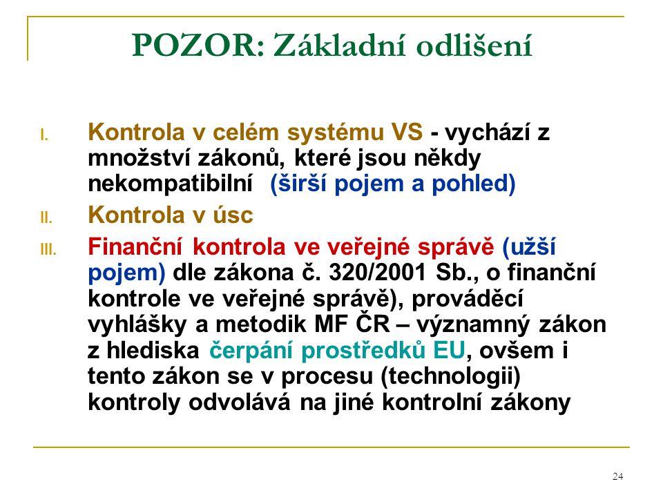 24 POZOR: Základní odlišení I. Kontrola v celém systému VS - vychází z množství zákonů, které jsou někdy nekompatibilní (širší pojem a pohled) II. Kon