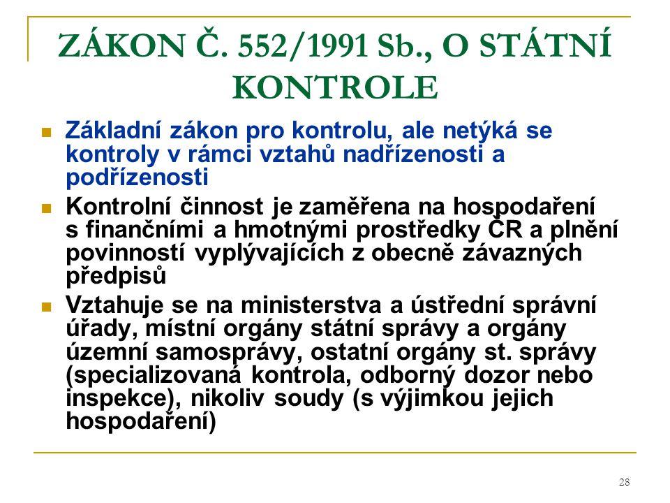 28 ZÁKON Č. 552/1991 Sb., O STÁTNÍ KONTROLE Základní zákon pro kontrolu, ale netýká se kontroly v rámci vztahů nadřízenosti a podřízenosti Kontrolní č