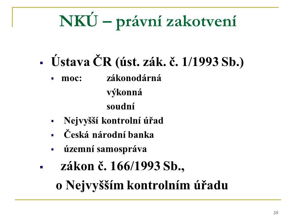 39 NKÚ – právní zakotvení  Ústava ČR (úst. zák. č. 1/1993 Sb.)  moc:zákonodárná výkonná soudní  Nejvyšší kontrolní úřad  Česká národní banka  úze