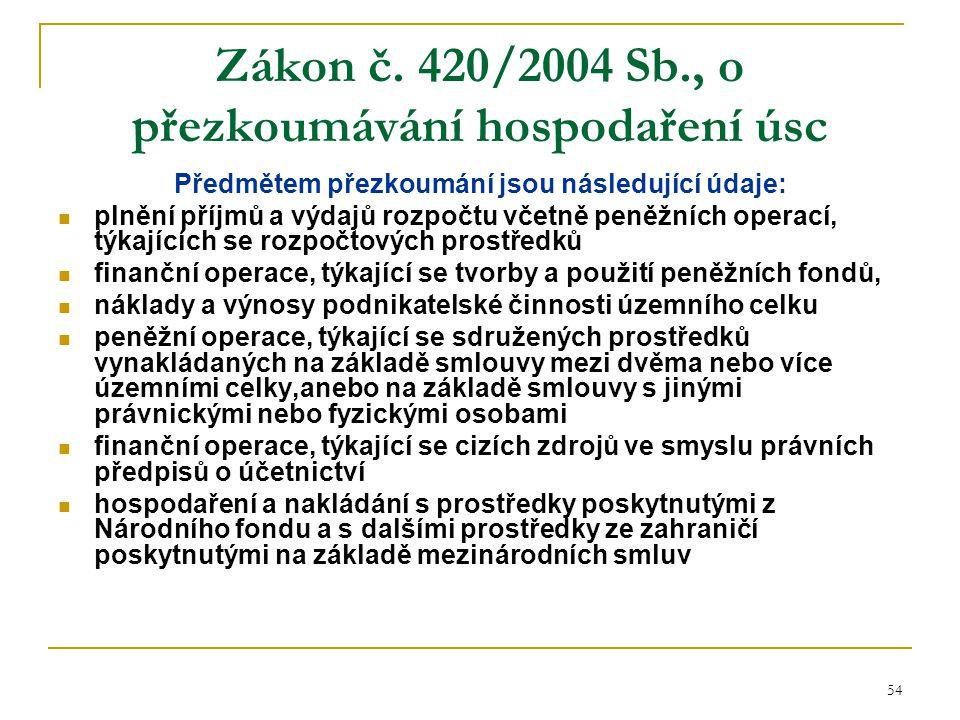 54 Zákon č. 420/2004 Sb., o přezkoumávání hospodaření úsc Předmětem přezkoumání jsou následující údaje: plnění příjmů a výdajů rozpočtu včetně peněžní