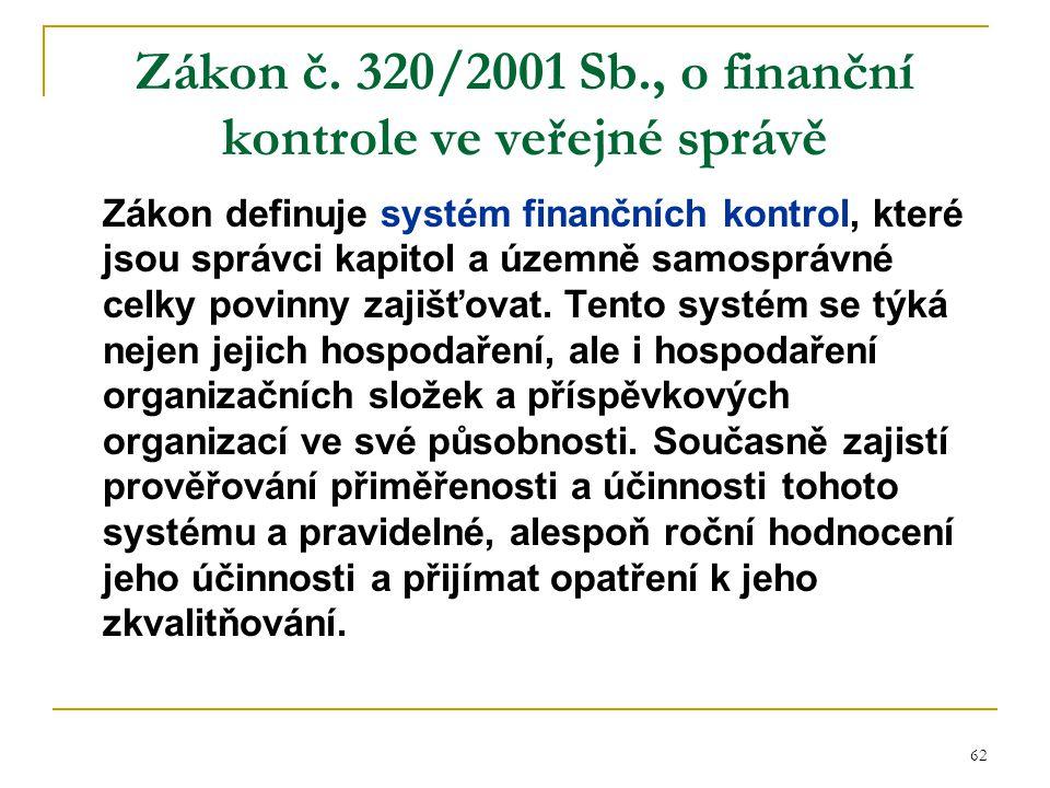 62 Zákon č. 320/2001 Sb., o finanční kontrole ve veřejné správě Zákon definuje systém finančních kontrol, které jsou správci kapitol a územně samosprá