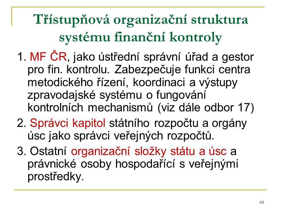 66 Třístupňová organizační struktura systému finanční kontroly 1. MF ČR, jako ústřední správní úřad a gestor pro fin. kontrolu. Zabezpečuje funkci cen