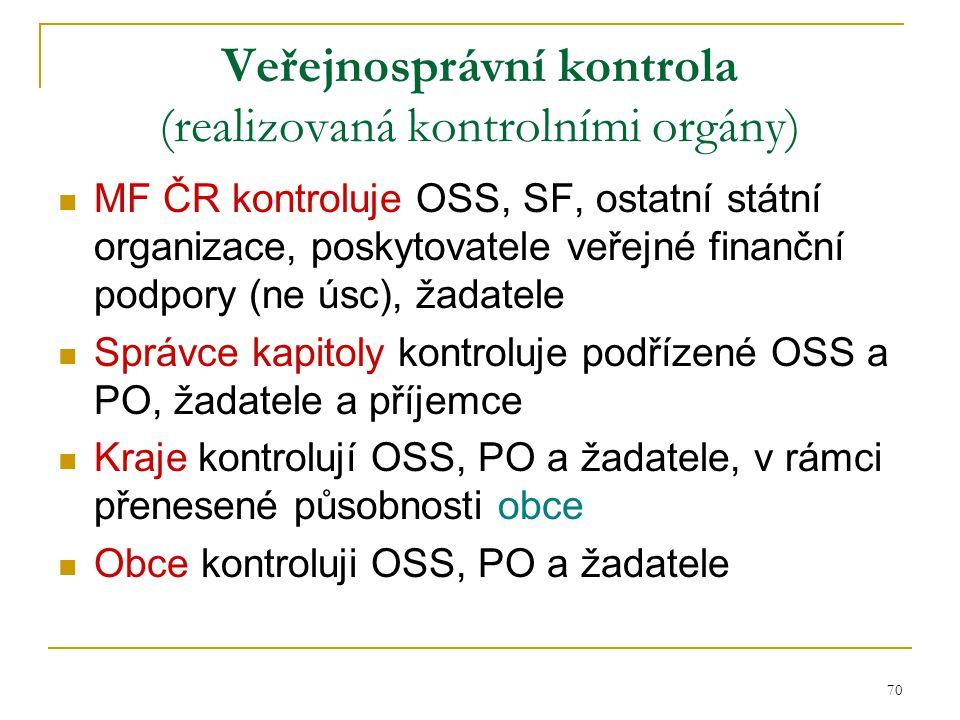 70 Veřejnosprávní kontrola (realizovaná kontrolními orgány) MF ČR kontroluje OSS, SF, ostatní státní organizace, poskytovatele veřejné finanční podpor