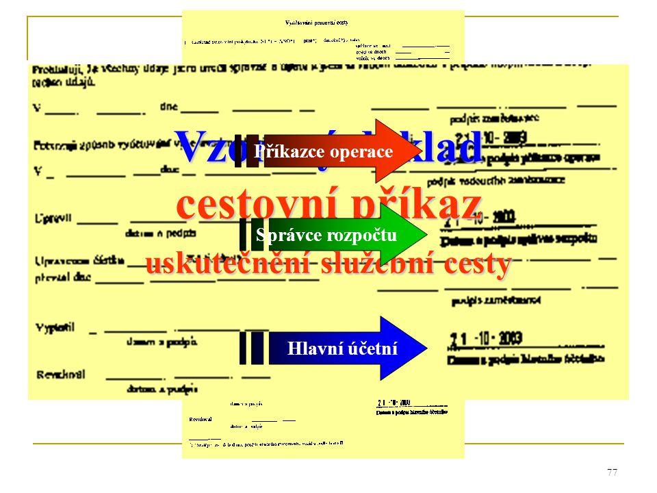 77 Vzorový doklad cestovní příkaz uskutečnění služební cesty Správce rozpočtu Hlavní účetní Příkazce operace