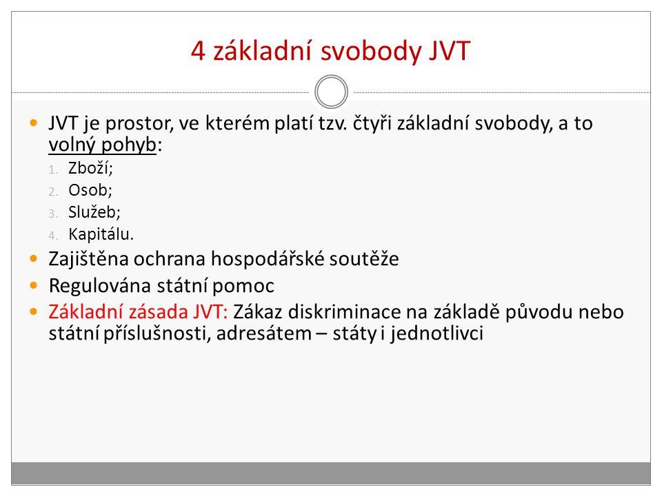 4 základní svobody JVT JVT je prostor, ve kterém platí tzv.