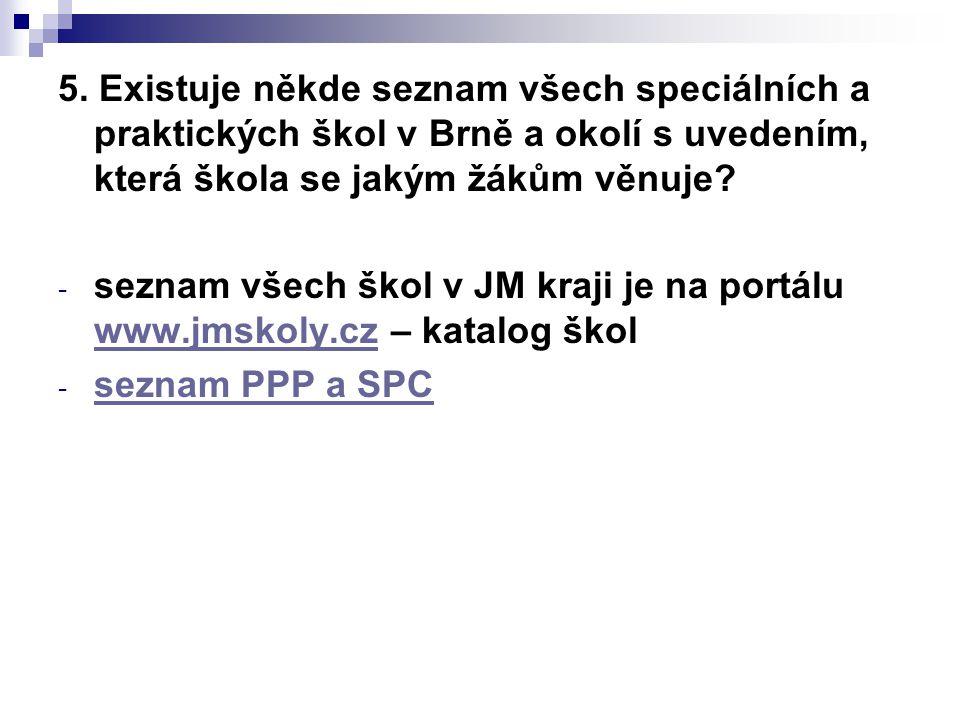 5. Existuje někde seznam všech speciálních a praktických škol v Brně a okolí s uvedením, která škola se jakým žákům věnuje? - seznam všech škol v JM k