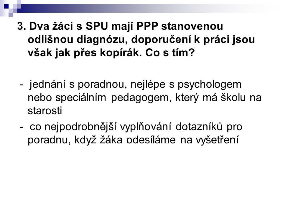 3. Dva žáci s SPU mají PPP stanovenou odlišnou diagnózu, doporučení k práci jsou však jak přes kopírák. Co s tím? - jednání s poradnou, nejlépe s psyc