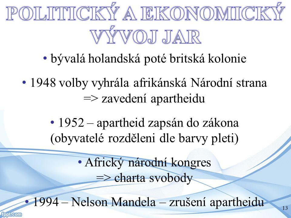 bývalá holandská poté britská kolonie 1948 volby vyhrála afrikánská Národní strana => zavedení apartheidu 1952 – apartheid zapsán do zákona (obyvatelé