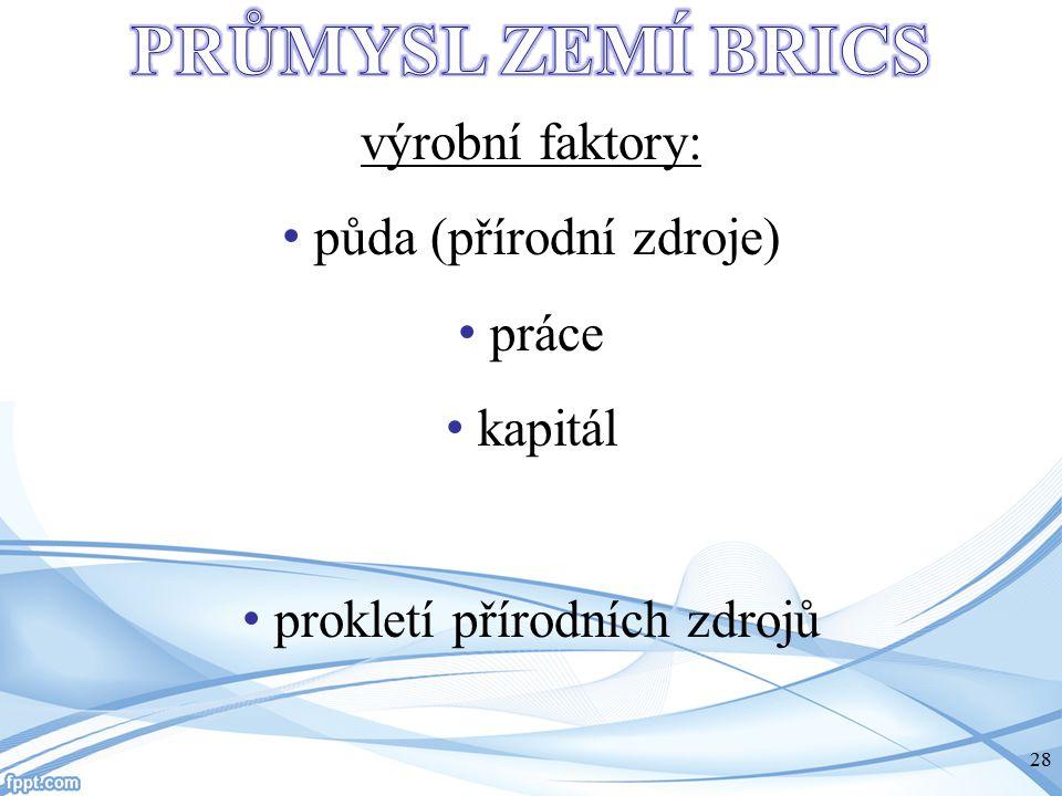 výrobní faktory: půda (přírodní zdroje) práce kapitál prokletí přírodních zdrojů -.. 28