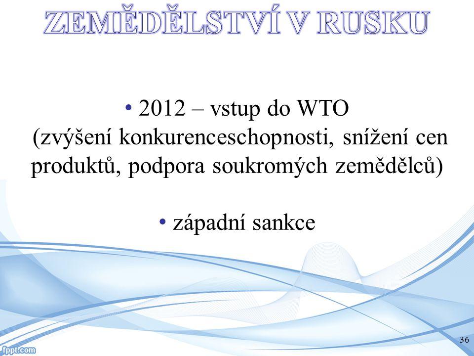 2012 – vstup do WTO (zvýšení konkurenceschopnosti, snížení cen produktů, podpora soukromých zemědělců) západní sankce 36