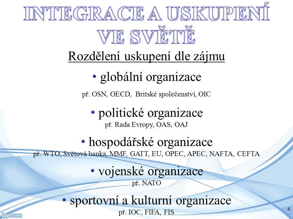 Rozdělení uskupení dle zájmu globální organizace př. OSN, OECD, Britské společenství, OIC politické organizace př. Rada Evropy, OAS, OAJ hospodářské o