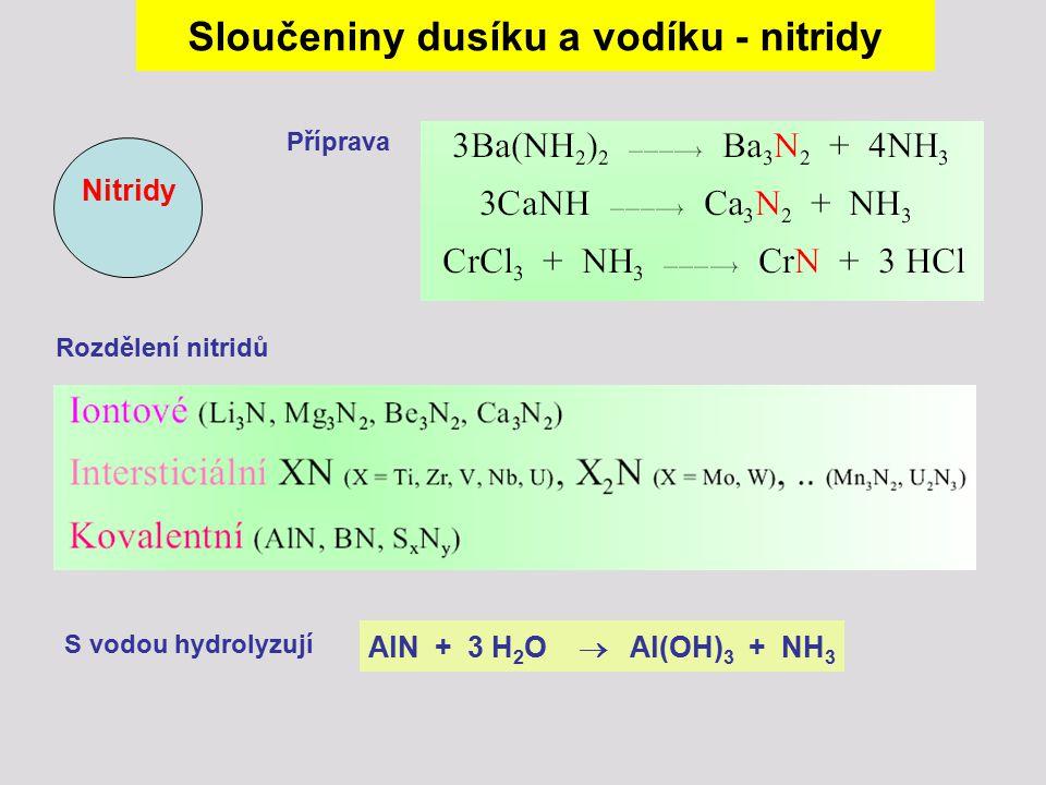 Nitridy Sloučeniny dusíku a vodíku - nitridy Příprava Rozdělení nitridů AlN + 3 H 2 O  Al(OH) 3 + NH 3 S vodou hydrolyzují