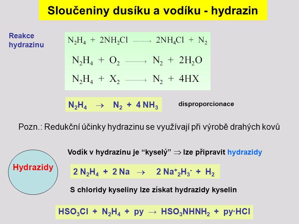 Sloučeniny dusíku a vodíku - hydrazin Reakce hydrazinu N 2 H 4  N 2 + 4 NH 3 disproporcionace 2 N 2 H 4 + 2 Na  2 Na + 2 H 3 - + H 2 Hydrazidy Vodík