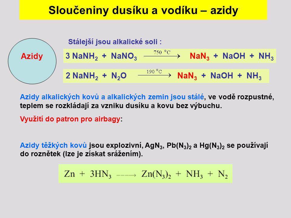 Stálejší jsou alkalické soli : 3 NaNH 2 + NaNO 3 NaN 3 + NaOH + NH 3 2 NaNH 2 + N 2 O NaN 3 + NaOH + NH 3 Azidy Azidy alkalických kovů a alkalických z