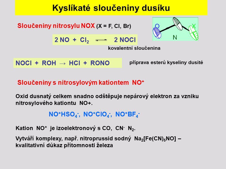 Kyslíkaté sloučeniny dusíku Sloučeniny nitrosylu NOX (X = F, Cl, Br) 2 NO + Cl 2 2 NOCl Oxid dusnatý celkem snadno odštěpuje nepárový elektron za vzni