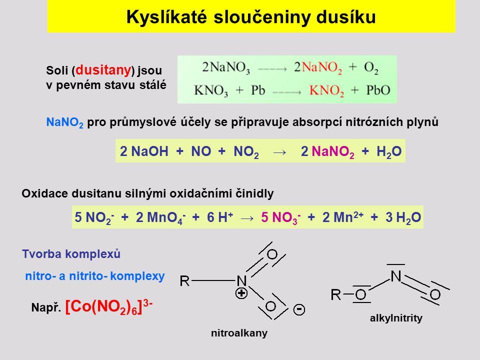Kyslíkaté sloučeniny dusíku Oxidace dusitanu silnými oxidačními činidly 5 NO 2 - + 2 MnO 4 - + 6 H + → 5 NO 3 - + 2 Mn 2+ + 3 H 2 O Tvorba komplexů ni